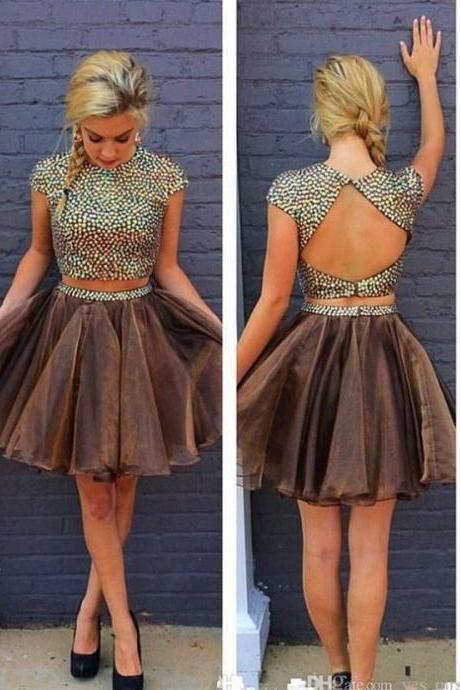Short Homecoming Dress Short/Mini Beading A-line Cap Sleeves Backless Net Round For Graduation Outlet Dresses