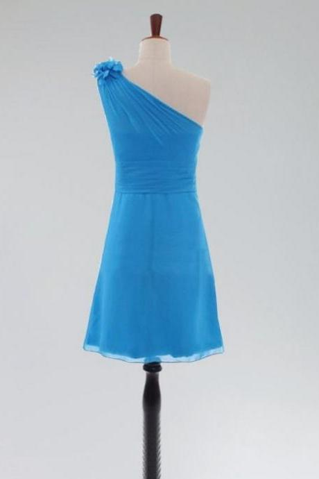 Short Homecoming Dress Short/Mini Chiffon Sleeveless Backless One-shoulder For Custom Made Dresses