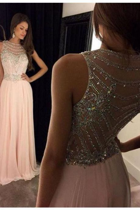 2017 Homecoming Dress Floor-Length Beading A-line Sleeveless Zipper Chiffon Bateau For Party Hot Sale Dresses