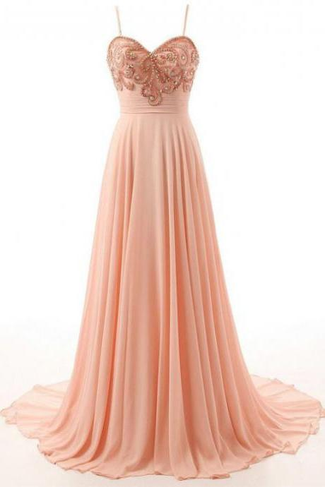 Homecoming Dress Court Train Beading A-line Sleeveless Zipper Chiffon Spaghetti Straps For Homecoming Outlet Dresses