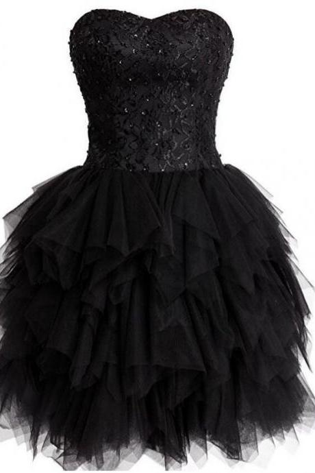 Homecoming Dress Knee-length Lace Ball Gown Sleeveless Lace Up Tulle Sweetheart For Evening Custom Made Dresses