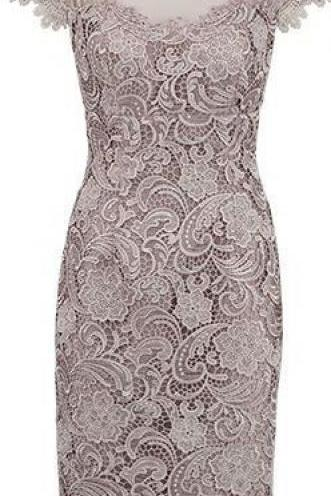 Custom Made Grey Lace Wedding \with Capped Sleeves , Prom Dresses