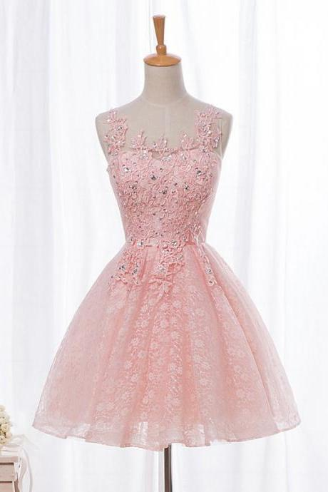 Aline Prom Dresses Sleeveless Prom Dresses Pink Prom Dresses Lace-Up Prom Dresses