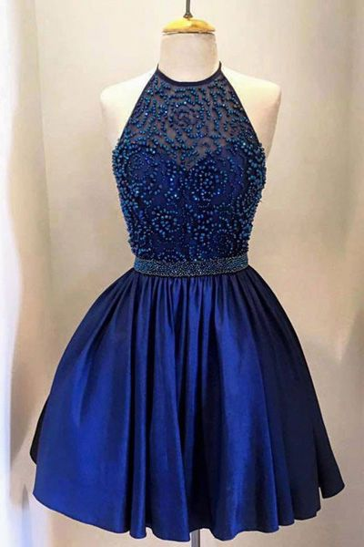 A lines Homecoming Dresses Royal Blue Homecoming Dresses Haltered Homecoming Dresses