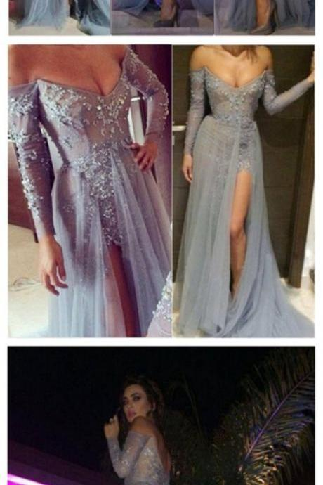 Charming Off the Shoulder Prom Dress Appliques Grey Long-Sleeves Evening Dress Elegant Prom Gowns